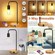 3-way Touch Control Dimmable Table Lamp With 2 Usb Charging Ports Ac Outlet V