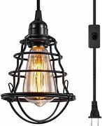 Pendant Light Vintage Hanging Cage Lighting Fixture Industrial Plug In Switch