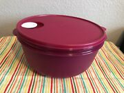 Tupperware Large Crystalwave Microwave Container 4qt W/ Colander Fuchsia 3pc New