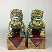 Chinese Color Porcelain Fengshui Foo Fu Dog Guardion Lion Beast Ball Statue Pair