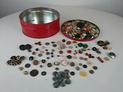Lot Of Mixed Buttonsvintage,glass,shell, Metal, All Kinds Rare