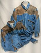 Rare Pair Of Sergio Valente Vintage 80andrsquos Denim Jeans And Leather Bomber Jackets