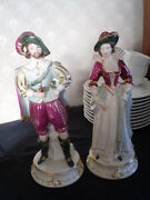 Rare Pair Hand Painted Figurines - Victorian Gentleman And Lady - Taube