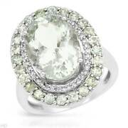 Ring 14k White Gold With 6.53 Ctw Amethysts And Clean Diamonds. Size 7.0 Us. New