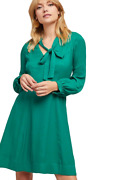 Anthropologie Womenand039s Gina Bow Tie V-neck Long Sleeve A-line Kelly Green Dress