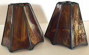 Vintage 70and039s Amber Stained Glass Slag Octagon Lamp Shades Handcrafted Lot Of 2