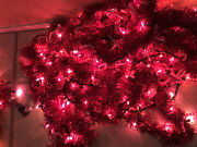 Christmas Lights 135 Feet With Red Garland Indoor Outdoor Preowned Incondescent