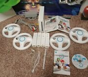 Nintendo Wii Console Mario Kart Bundle With 4 Oem Controllers And 4 Wheels Synced