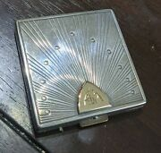 Vintage 14kt And Sterling Silver Makeup Compact Mirror