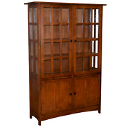 Crafters And Weaves Mission Oak 4 Door Display China Cabinet-golden Brown - 49w