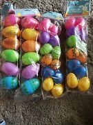 Happy Easter Bright Colorful Plastic Fillable Eggs 2 Packs Large And 2 Packs Small