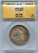 1832 Capped Bust Silver Half Dollar. Anacs Graded Au 58 Details. Lot 2547