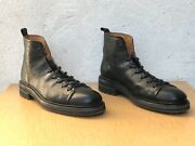 John Varvatos Black Essex Trooper Leather Lace Up Boot Size 13 New Without Box