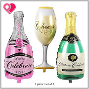 40 Big Giant Foil Balloon Champagne Wine Bottle Glass Flute Cup Gold Green Pink