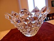 Art Deco Glass Bowl Jeweledpyramids And Rounds In Relief 1/4 Weighs 6.5 Lbs Euc