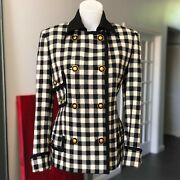 Gianni Versace Black And White Checkered Wool Jacket Size 42 From Fw 1993/94