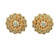 Boucher Vintage Gold Tone Clip On Costume Earrings Teal With Rhinestones