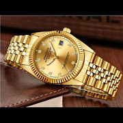Menand039s Watch Relojes De Hombre Gold Stainless Steel Quartz Classic Small Dial