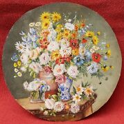 French Drawing Watercolor Gouache Miniature Still Life Flowers Bouquet Vase