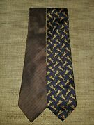 Vintage Athentic 1980and039s Designer Silk Tie Lot Italy 56 X 3 1/2 Lion Whip