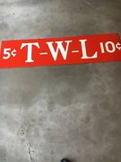 """Original/vintage 61"""" By 16"""" Porcelain 5 And 10 Store Sign - Cool"""