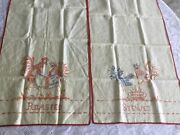 2 Vintage Linen Dish Towels Hand Embroidered Stewed Rooster And Roasted Chickens