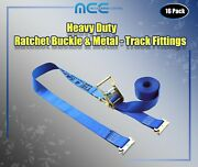 16 Pack 2 X 20and039 E-track Ratchet Strap Truck Trailer Enclosed Cargo Van Tie Down