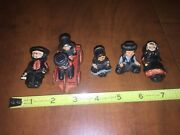 6 Vintage Hand Painted Cast Iron Amish Figurines Figures Boy And Girl In Wagon