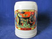 Gerz .5l Lidless Stein Bright Zodiac Taurus The Bull Graphics Made In W. Germany
