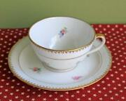 Limoges Chastagner Tea Cup And Saucer - French Porcelain, Flowers Gold Rims