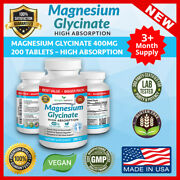 Best Magnesium Glycinate 400 Mg – 200 Tablets – High Absorption Pure Made In Usa