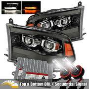 6000k Hid/for 09-18 Ram 1500/2500/3500 Jet Black/smoke Drl Projector Headlights