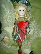 Antique Bisque, Musical Marotte, Belton Head Jester Doll On Twirling Wood Handle
