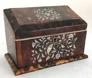 Antique Early 19th C. Faux Tortoise Shell And Mother Of Pearl Slant Top Box