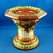 Fitz And Floyd One Large Equestrian 7 Tall Octagonal Shaped Candlestick Estate
