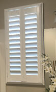 Custom Plantation Shutters 100 Natural Wood Bright White With Custom Louvers