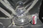 Antique Hand Blown Etched Clear Glass Fly Trap Catcher Asian Crystal Ball Rare