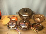 Corning Pyrex Vintage Visions Cookware Set Dutch Oven Heat N Eat Lid Made In Usa