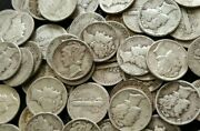 10 Mercury Dimes 90 Junk Silver American Coins, Real Money, Real Investment.