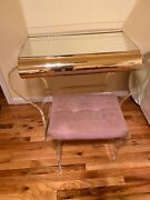 Lucite Waterfall Mirrored Vanity With Vanity Bench