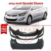 Set Of 2 Front And Rear Bumper Covers Hy1000204 Hy1100202 For 2014-2016 Elantra