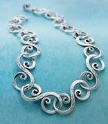 Rare James Avery Retired Circles Gentle Wave Collar Necklace Slender Fit Silver