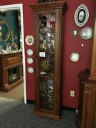 Vintage Tall Lighted Display Case Wood Display Case Slim Tall 6and039 Display Cabin