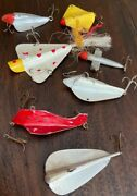Vintage Lot Of Hand Made Fishing, Spearing Decoys, Airplane Jigs, Trout Lures.