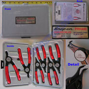 New Snap On Red Soft Grip Handle Retaining / Snap Ring Pliers 6 Pcs Set - Prh406