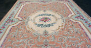 17' 6 X 11' 6 Hand Made Needlepoint Rug W/ Center Medallion And Roses Estate