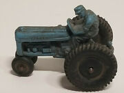 Vintage Blue Auburn - Rubber Toy Tractor With Driver 4 Allstate Tires