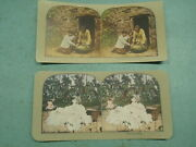 Vintage 1900 Stereo View Card Black Americana Cotton Watermelon Photo Old