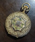 American Waltham Co. 14kt Gold Pocket Watch Full Hunter With Scenic Floral Case
