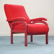 Reclinable Red Armchair Wood Fabric Design 70er Jahre Vintage